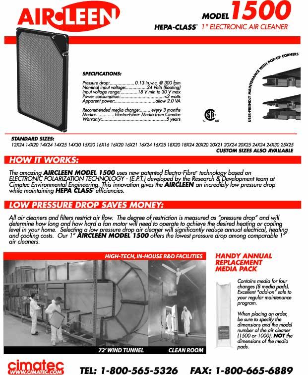 AirCleen 1500 Brochure Back